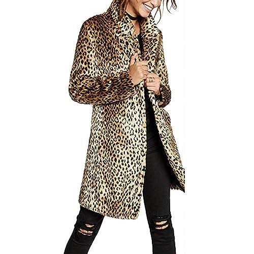 e0977962ae3 Women Warm Long Sleeve Parka Faux Fur Coat Overcoat Leopard Fluffy Top  Jacket