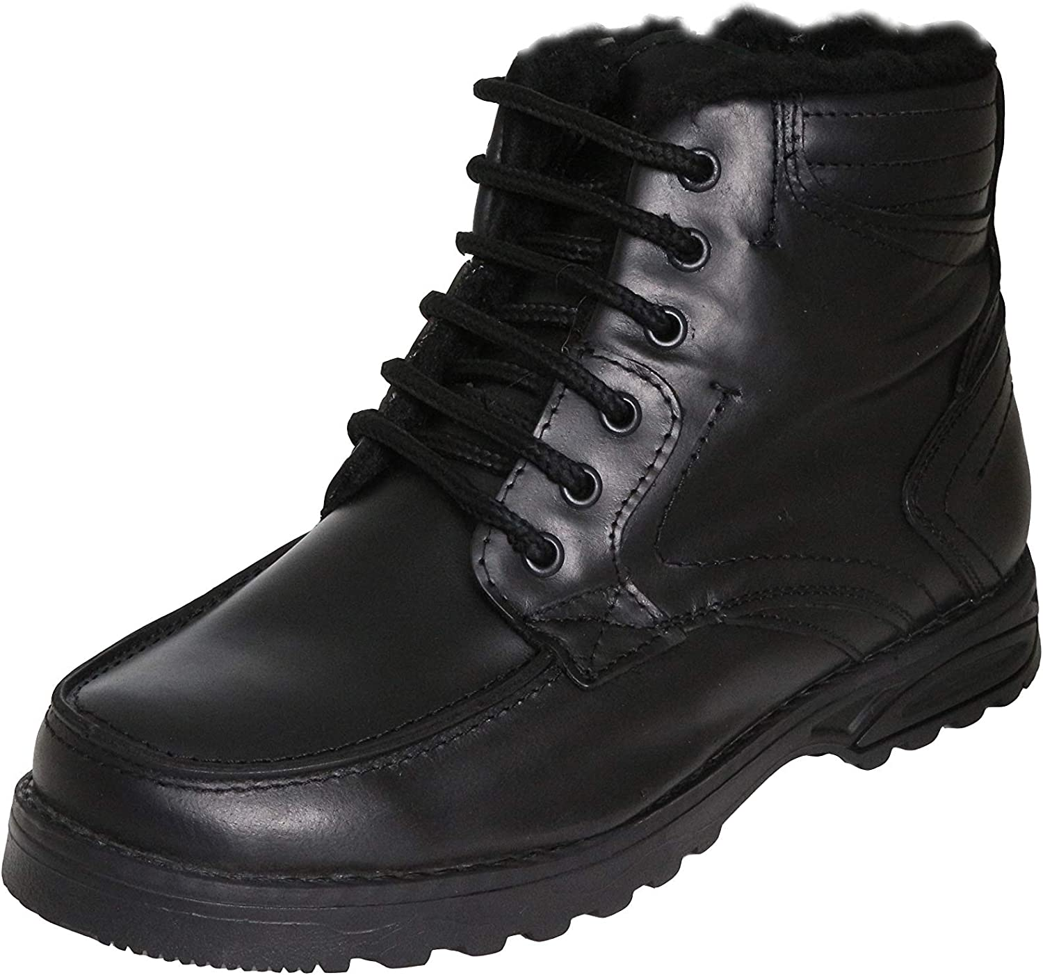 Ks 1803 Men's Boots for Autumn Winter with Warm Lining - Leather - Black