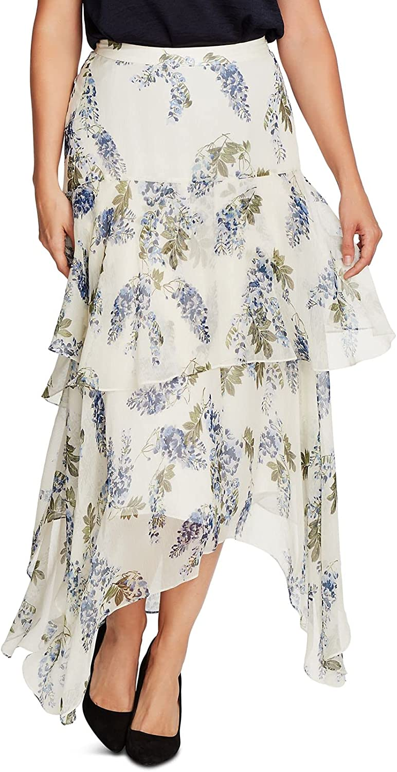 Vince Camuto Womens White Ruffled Floral Maxi Ruffled Skirt Size 4