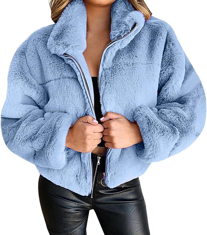 Women's Casual Warm Faux Shearling Coat Jacket Autumn Winter Long Sleeve Lapel Fluffy Fur Outwear Fleece Coat