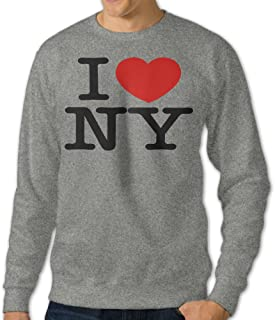 Men's I Love NY Heart New York Casul Long Sleeve T Shirt Ash