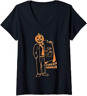 Womens Pumpkin Smuggler Funny Halloween Costume Pregnancy Gift V-Neck T-Shirt