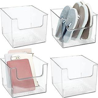 mDesign Juego de 4 cajas de almacenaje – Práctico organizador de armarios para el dormitorio – Contenedor transparente de ...