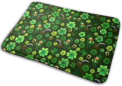 St. Patrick's Day Four-Leaf Clover Green Leprechaun Carpet Non-Slip Welcome Front Doormat Entryway Carpet Washable Outdoor Indoor Mat Room Rug 15.7 X 23.6 inch