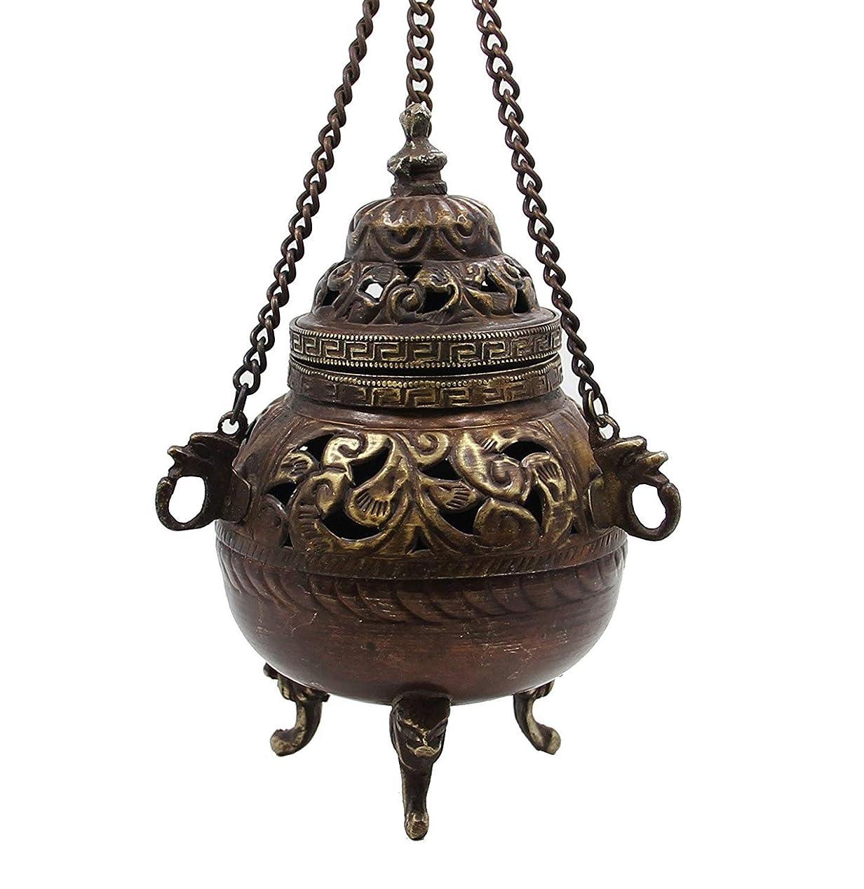 コンピューターを使用するブロースカウトチベット従来DharmaObjects Hanging香炉銅5?cm高