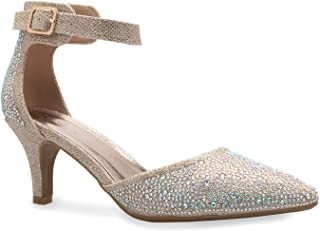 Women's Sexy Glitter Rhinestone D'Orsay Ankle Strap Pointed Toe Low Heel Pump - Comfortable, Classic