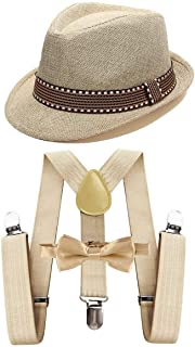 IZKIZF Kids 1920s Costume Fedora Gangster Hat Y-Back Suspenders Bow Tie Wedding Birthday Party Halloween Cosplay Outfit 2-15T
