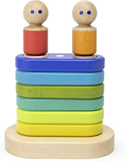 11Piece Tegu Magnetic Floating Stacker Building Block Set, Rainbow