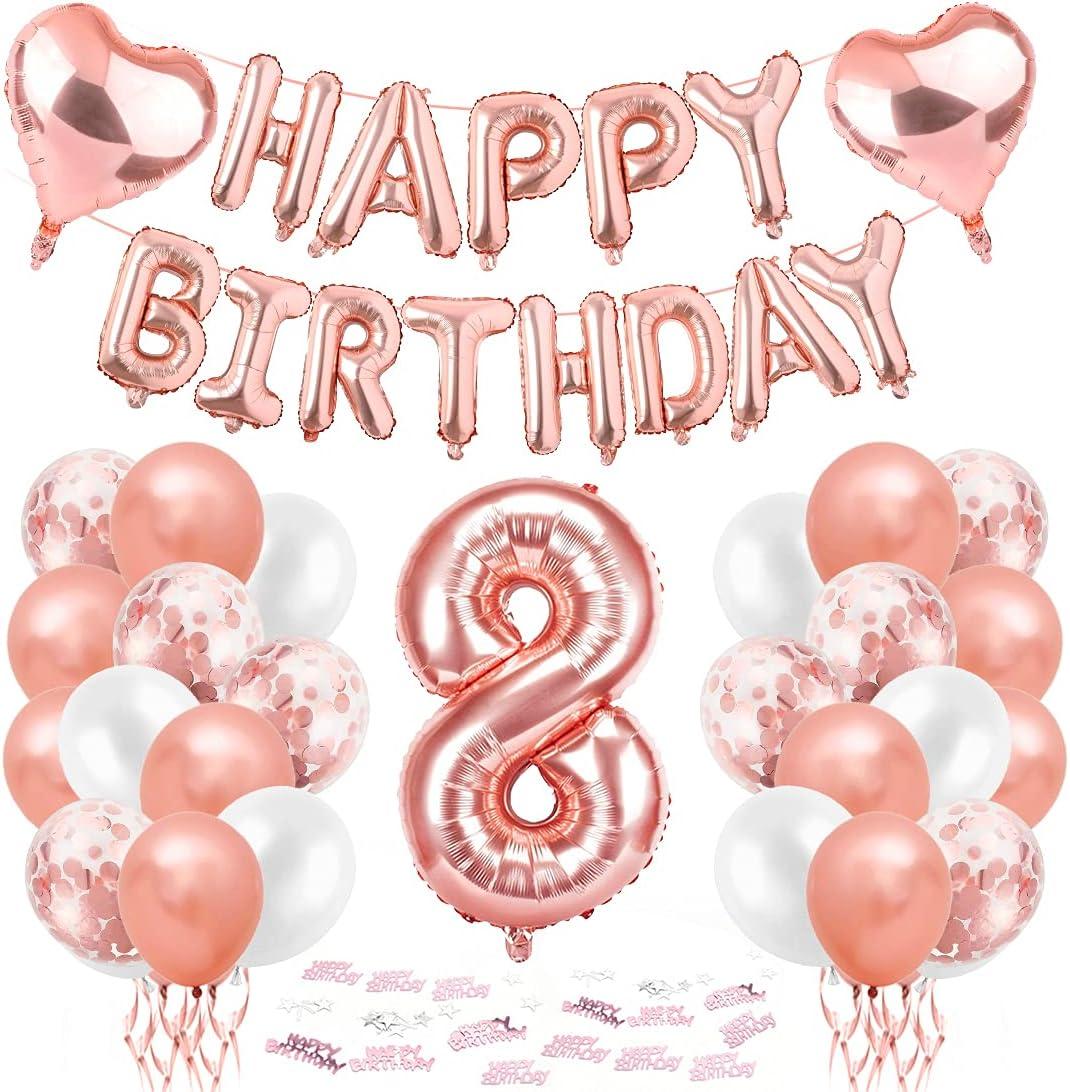 Cumpleaños Globos 8, 8er Cumpleaños Globos, Decoración de cumpleaños 8 en Oro Rosa, Feliz cumpleaños Decoración Globos 8 Años, Globos Numeros 8 para Fiestas, Decoracion Cumpleaños niña