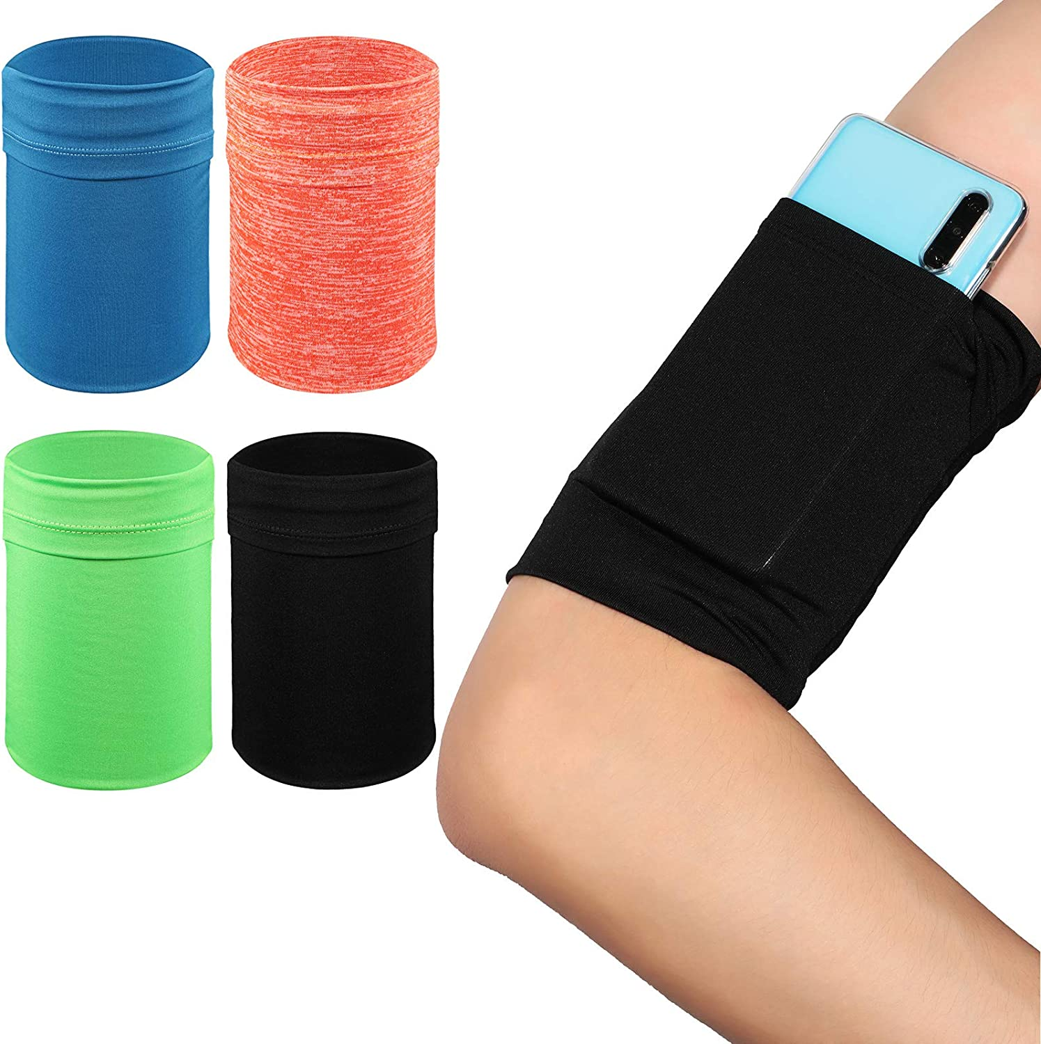 4 Pieces Arm Strap Wristband Holder Running Phone Arm Holder Phone Armband Wristband Phone Running Arm Raglan Sleeve Pouch Sport Mobile Holder Fits up to 6 Inch Phone, 4 Colors