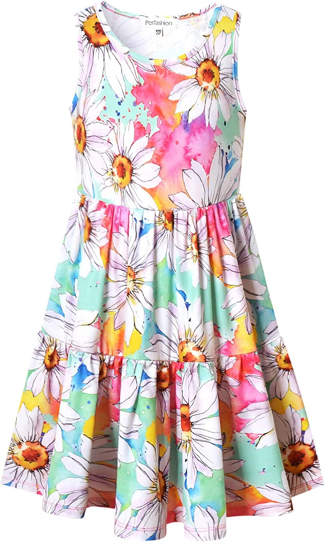 Perfashion Girls Ruffle Swing Dress Round Neck Flowy Long Sleeve Dress with Elastic Cuffs