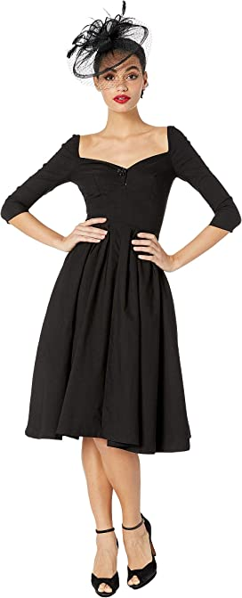 d2ec256bf8f1 Unique Vintage 1950s Style Stretch Sleeved Devon Swing Dress at ...