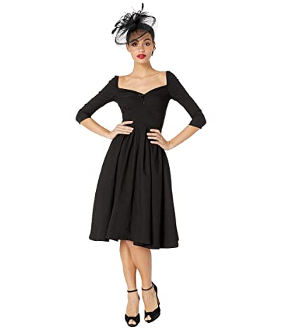 Unique Vintage 1950s Style Bengaline Sweetheart Lamar Swing Dress (Black) Women