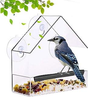 Comedero acrílico transparente para pájaros, bandeja de visualización de ventana, alimentador de agua para mascotas con fu...