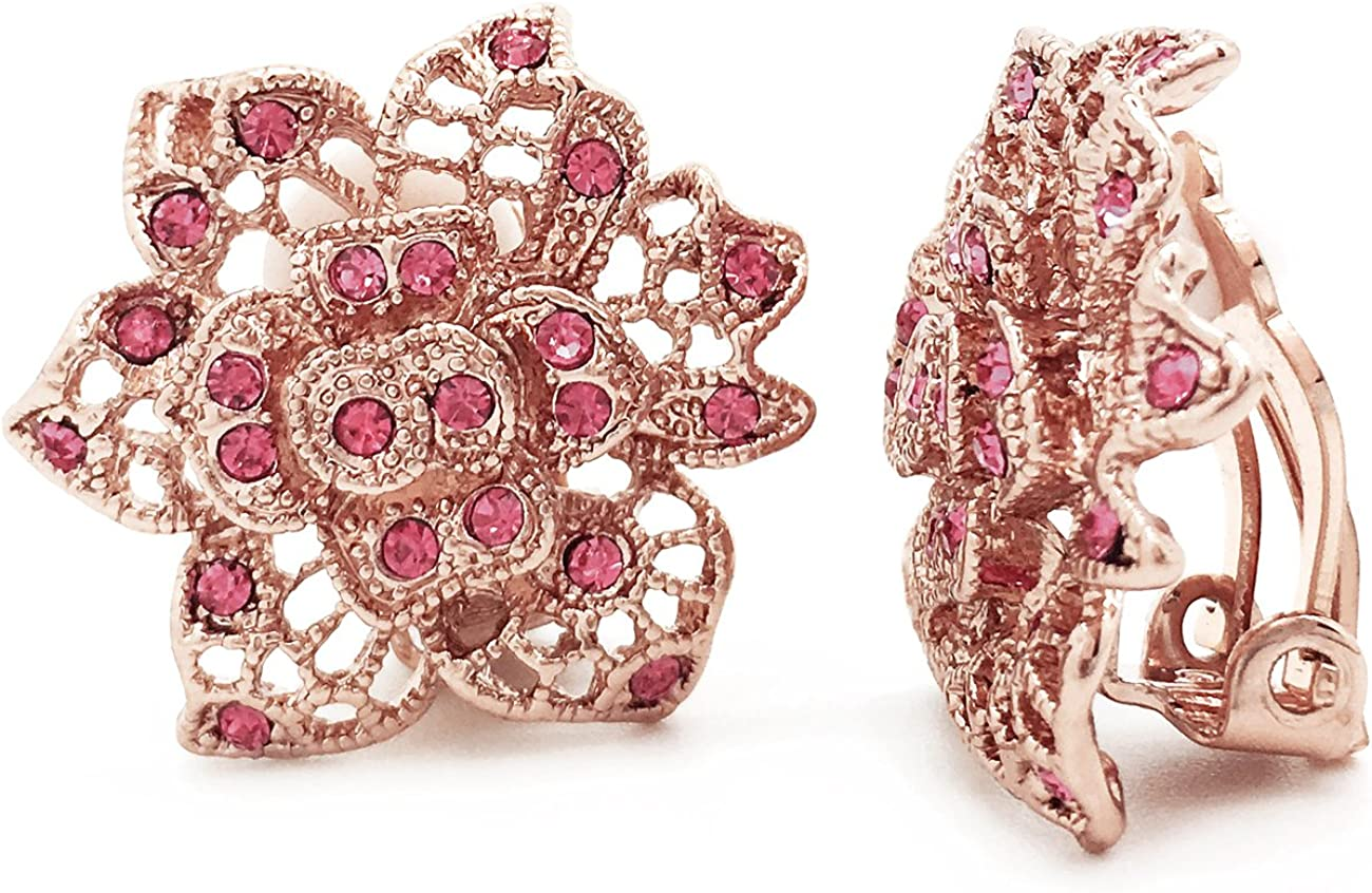 Clip On Earrings Pink Crystal Filigree Flower Rose Gold Plated Women Fashion