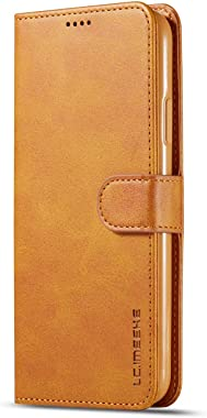 RuiJinHao iPhone Xs Flip Case Leather Cover Card Holders Cell Phone case Extra-Shockproof Business Kickstand Three Card Slot Button Business (Yellow)