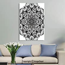 SfeatruAngel_SOSUNG Bathroom Framed Wall Art Decor,Mandalas Coloring Book Flower Shape Oriental Therapy Yoga Logos Vector.(16