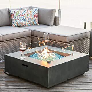 COSIEST Outdoor Propane Fire Pit Coffee Table w Slate Gray Square Faux Stone 35-inch Planter Base, 50,000 BTU Stainless Steel Burner,Wind Guard, Free Lava Rocks and Waterproof Cover