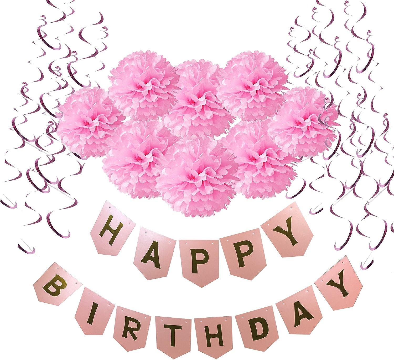 Decorated birthday Wartoon Decoration Set Hanging swirl deco birthday Garland Paper Flower flag Garland pink