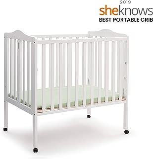 Delta Children Folding Portable Mini Baby Crib with Mattress, White