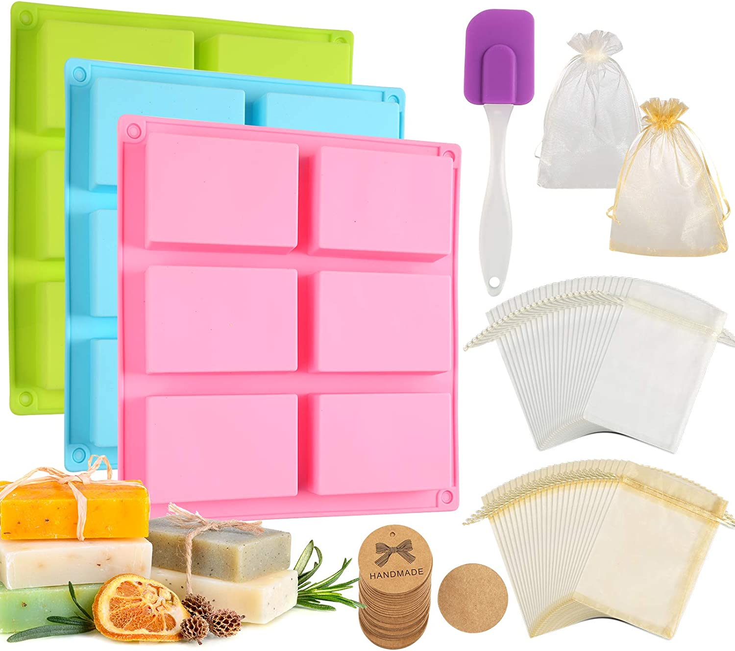 Aoibrloy 104pcs Silicone Soap Making Molds and Set Soap Making Kit with Gift Bag, Lable, Scraper for Making Soap and DIY Homemade Soap Craft