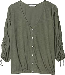 Lucky Brand Women's 3/4 Ruched Sleeve V-Neck Button Front Top