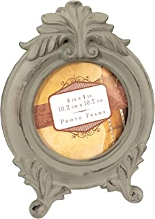 Shes Chic Round Picture Frame Ornate Distressed Antique Vintage Circle Wedding Love Family Old Mother Table Top Circular Photo Display Blue Gray Putty Neutral 4 by 4