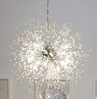 Lámpara de iluminación de araña de araña de fuegos artificiales moderna, 23.5 pulgadas de diámetro, lámpara de decoración del hogar interior de cristal de acero inoxidable