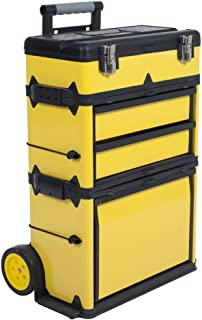 Stackable Toolbox Rolling Mobile Organizer with Telescopic Comfort Grip Handle – Upright Rigid Pack Out Cart with Wheels a...
