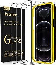 ivoler Pack de 4 Verre Trempé Compatible avec iPhone 6.7 Pouces 12 Pro Max, avec Kit Installation Offert, Film de Protection d'écran - Anti Rayures - sans Bulles - Ultra Résistant Dureté 9H Glass