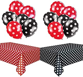 LIUYIJI Polka Dot Party Decorations Kit with 2 Pack Red & Black Polka Dot Plastic Tablecloth and 12 Pcs Red &Black Polka Dot Balloons