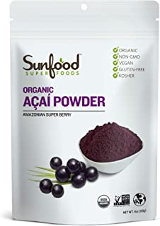 Sunfood Superfoods Acai Powder - Organic | Guaranteed Best Quality | Ultra-Clean (No Chemicals, Additives, Fillers, Artifi...