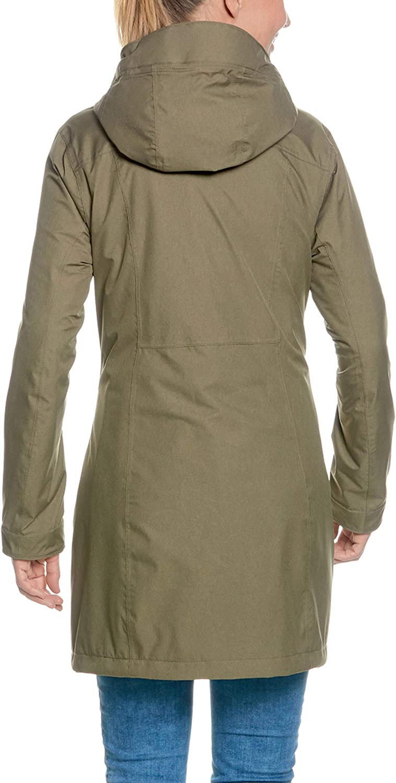 Tatonka Kurzmantel Jores W's Coat - wasserdichter Outdoormantel mit Kapuze - atmungsaktiv und figurbetont - PFC-frei - Regular Fit bark green