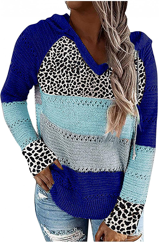 FABIURT Fashion 2020 Women's Stripe Color Block Hollow Out Knit Sweaters Hoodies Cardigans Pullover Sweatshirt Blouses