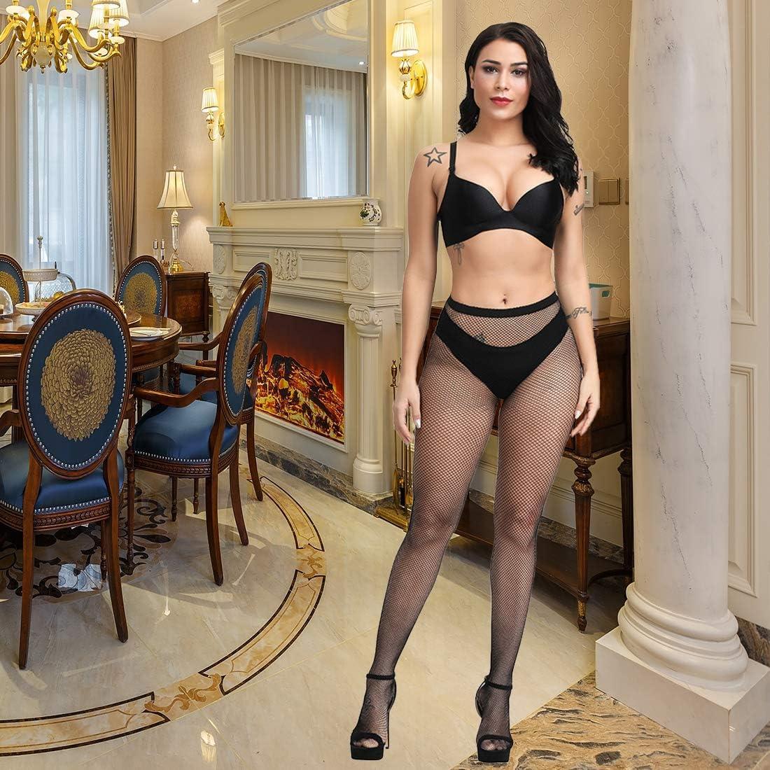Fafulan High Waist Tights Fishnet Stockings Thigh High Stockings Pantyhose High Waist Tights Fishnet Stockings Thigh High Stockings Pantyhose, Black Big Net, S-XXXL: Clothing