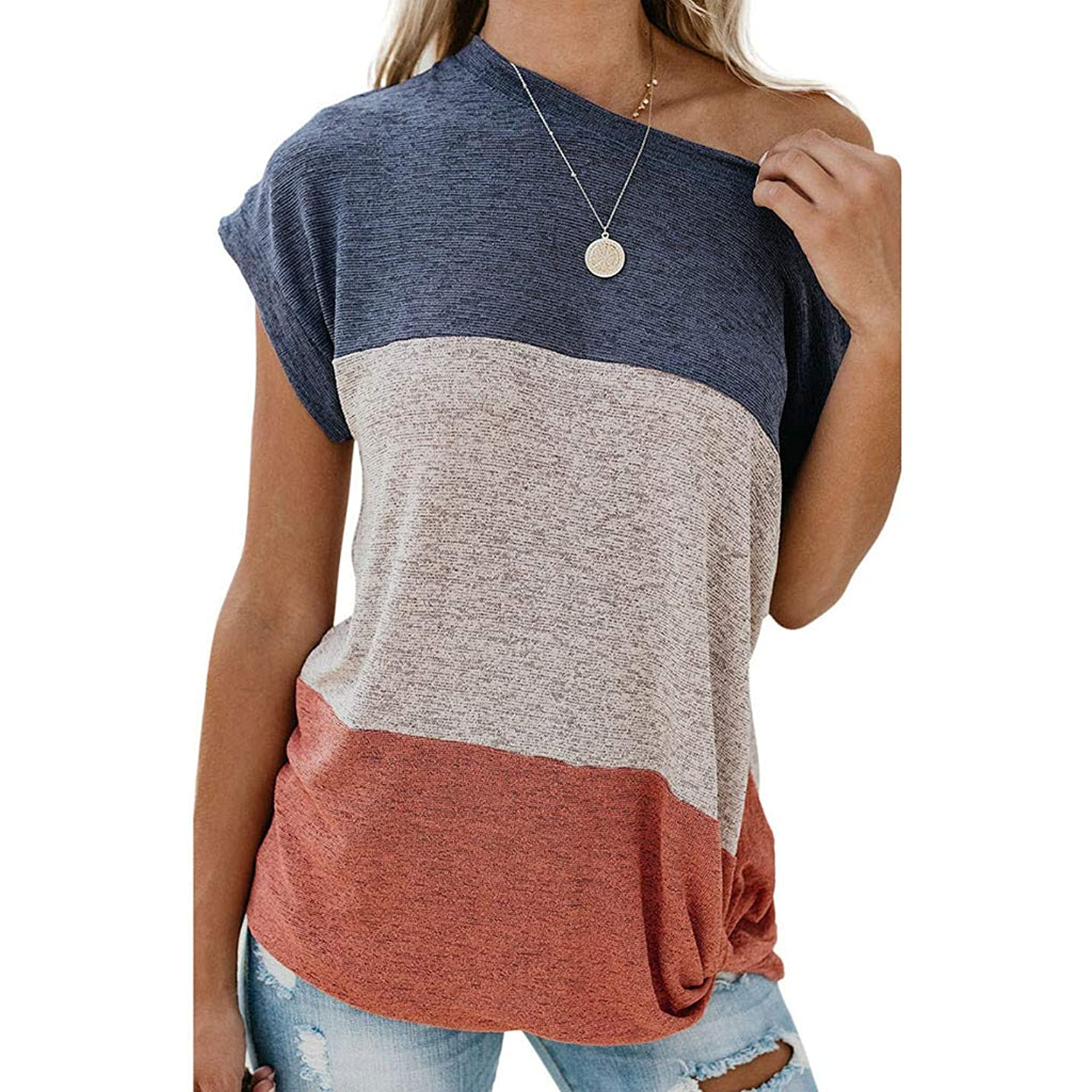 Women's Solid Color Stitching Tops Tie Front Knot Blouse Off Shoulder Tunic T-Shirt Short Sleeve Tees