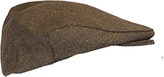 Walker & Hawkes - Uni-Sex Derby Tweed Flat Cap Hunting Shooting Countrywear Hat - Brown Tweed