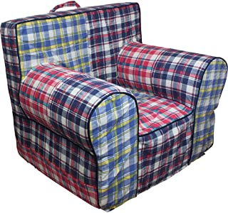 CUB CHAIRS Comfy Small Navy Madras Plaid Kid's Chair with Machine Washable Removable Cover