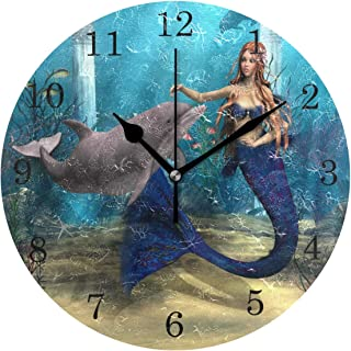 ZZKKO Cute Mermaid and Dolphin on Ocean Wall Clock, Silent Non Ticking Battery Operated Easy to Read Decorative Wall Clock for Kitchen Bedroom Bathroom Living Room Classroom