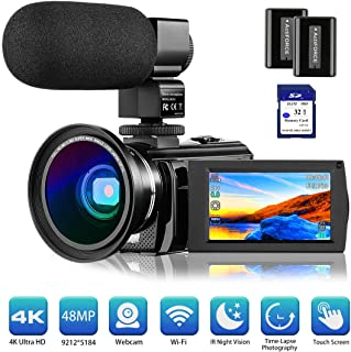 "4K Camcorder Video Camera Rosdeca Ultra HD 48.0MP WiFi Digital Camera IR Night Vision 3.0"" IPS Touch Screen 16X Digital Zoom with External Microphone, Wide Angle Lens, 2 Batteries and Memory Card"
