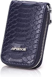 APHISON RFID Blocking Coin Pouch Purse Credit Card Case Holder Wallet With Zipper 010 (BLUE)