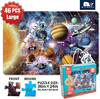 Kids Puzzle Puzzles for kids ages 4-8 Solar System Floor Puzzle Raising Children Recognition Promotes Hand Eye Coordinatio (46Pcs 3x2Feet)