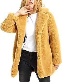Hathaway-store Women Faux Fur Coat Autumn&Winter Casual Solid Color Faux Fur Coat Collar Loose Long Sleeve Lapel Coat Jacket