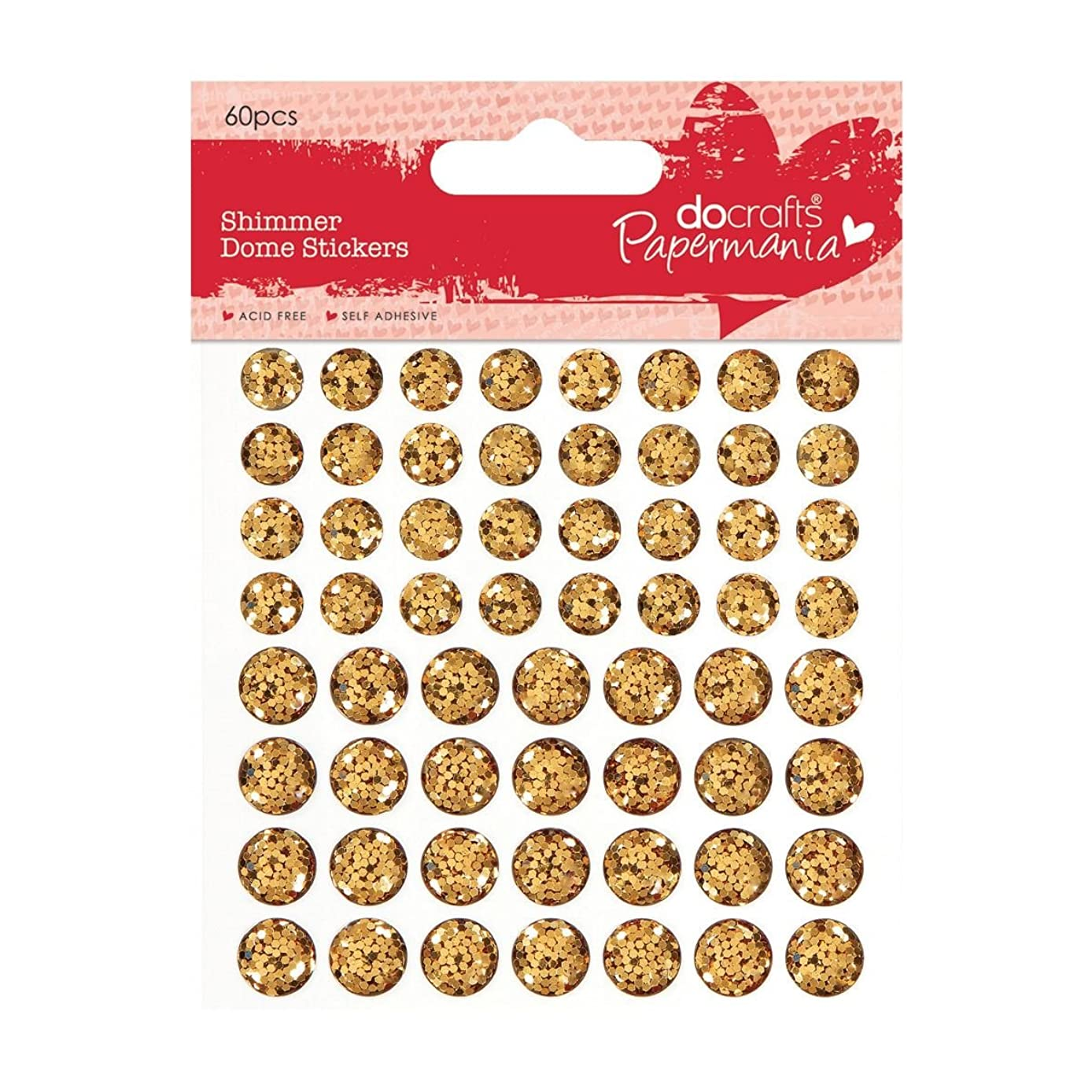 DOCrafts Papermania Shimmer Dome Bling Stickers, Gold