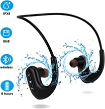 Waterproof Headphones for Swimming, IPX8 8GB in-Ear Wireless Earbuds Sport Wearable MP3 Player Headset with Noise Cancelli...