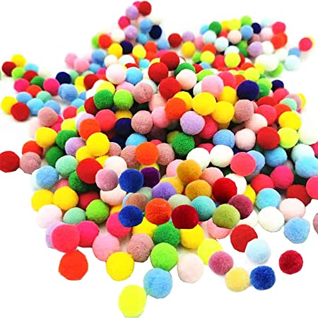 Mini Pompons Loisirs Créatifs 300Pcs Craft Pompons Pom Pom Décoratifs pour Artisanat Pompons Colorés Boules Boules à Pompon élastique Pompons pour Artisanat Fabrication et Loisirs Fournitures