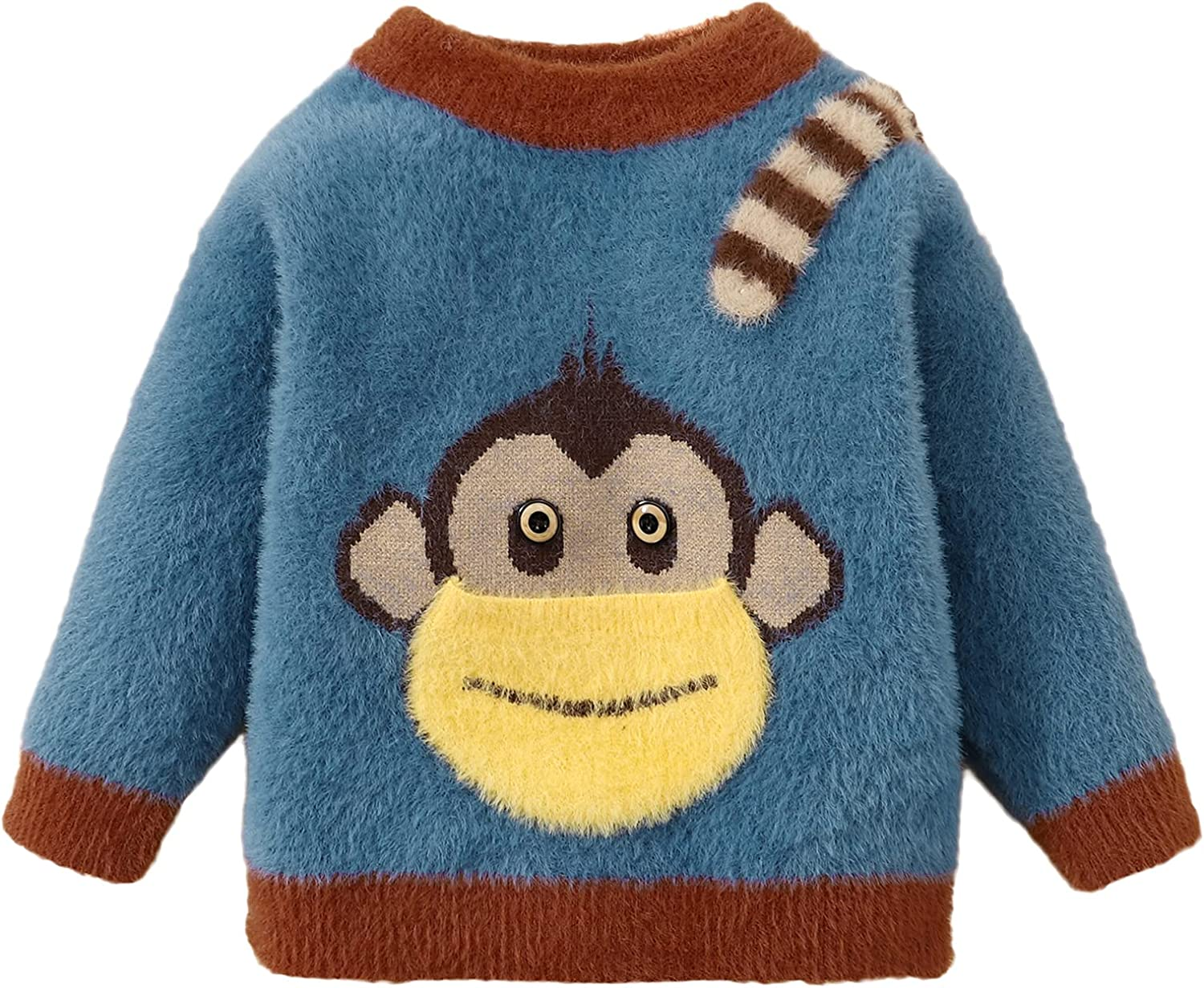 Toddler Baby Cartoon Sweater Pullover Fleece Top with Pocket Monkey 9-24M,2-3T