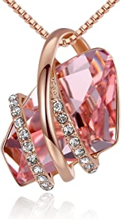 """Leafael Wish Stone 18K Rose Gold Plated/Silvertone Pendant Necklace Birthstone Crystal Jewelry, 18"""" + 2"""""""