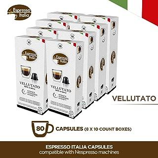 Espresso Italia Coffee Capsules. Single Cup Coffee Pods Compatible with Nespresso Original Machines (VELLUTATO, 80)