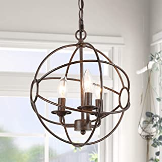 """ISURAUL Industrial Globe Chandeliers 12"""" Orb Pendant Wrought Iron Hanging Light Fixture with Bronze Finish"""